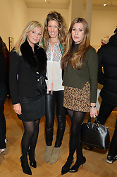 Left to right, SARAH LESLIE, EDDIE HARROP and ANNABEL BONSOR at the opening private view of 'A Strong Sweet Smell of Incense - A portrait of Robert Fraser, held at the Pace Gallery, Burlington Gardens, London on 5th February 2015.