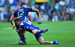 Cape Town-180317 Sonny Bill Williams of Blues tackled by Johannes Egelbrecht of DHL Stomers in the Super Rugby tournament  at Newlands rugby stadium.Photograph:Phando Jikelo/African News Agency/ANA