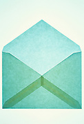 empty blue-green envelope