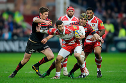 Gloucester Winger (#11) Jonny May hands off Saracens Fly-Half (#10) Owen Farrell during the first half of the match - Photo mandatory by-line: Rogan Thomson/JMP - Tel: Mobile: 07966 386802 - 04/01/2014 - SPORT - RUGBY UNION - Kingsholm Stadium, Gloucester - Gloucester Rugby v Saracens - Aviva Premiership.