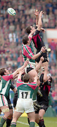 Leicester, Walker Stadium., Leicestershire, 5th April 2004, Heineken Cup, ENGLAND. [Mandatory Credit: Photo  Peter Spurrier/Intersport Images],Heineken Cup, Semi Final, Leicester Tigers vs Stade Toulouse, Walker Stadium, Leicester, ENGLAND: Touloses Gregory Lamboley misses the line out ball as