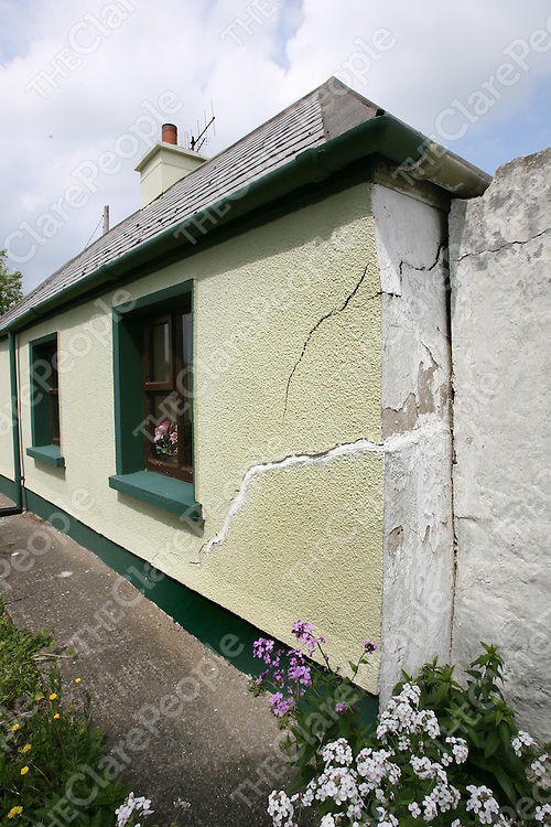 Cracks in Michael Dempsey's house at Monmore,Kilrush.<br /><br />Photograph by Eamon Ward