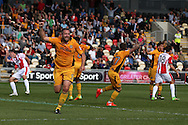 Jon Parkin of Newport county (c no9) celebrates after he scores his teams 1st goal to equalise at 1-1.  EFL Skybet football league two match, Newport county v Cheltenham Town at Rodney Parade in Newport, South Wales on Saturday 10th September 2016.<br /> pic by Andrew Orchard, Andrew Orchard sports photography.