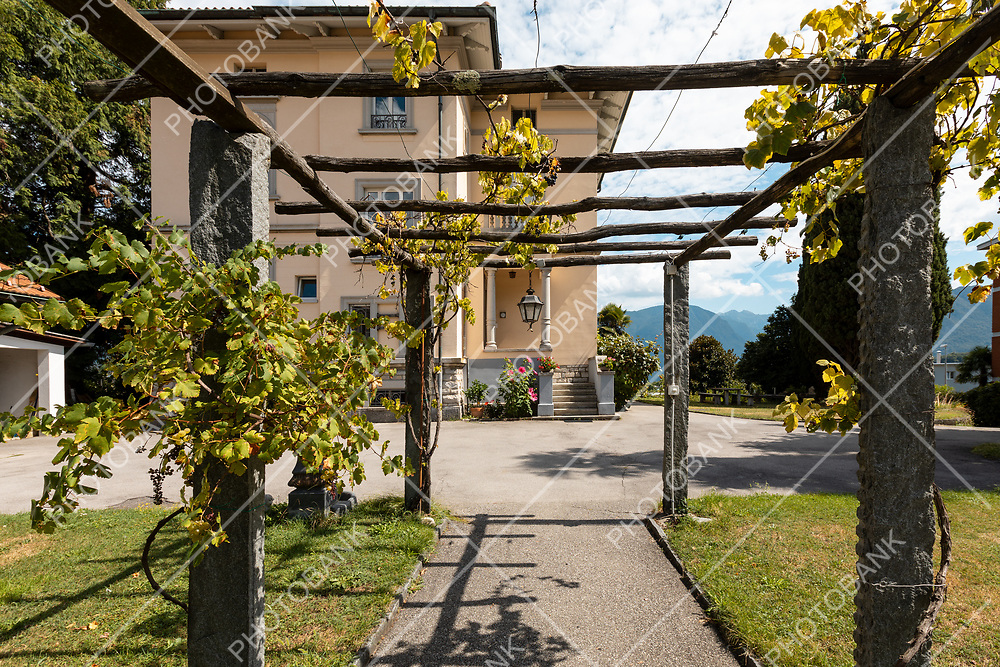 Ancient villa entrance with stone porch and wooden logs. Nobody inside. Sunny summer day