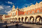 Fontanna i Sukiennice na Rynku Głównym w Krakowie, Polska<br /> Cloth Hall on the Market Square in Cracow, PolandThe Cracow Main Market.
