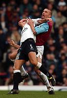 Photo. Javier Garcia<br />02/02/2003 West Ham v Liverpool, FA Barclaycard Premiership, Upton Park<br />Tomasz Repka clashes with Milan Baros