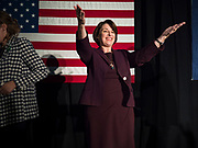 05 DECEMBER 2019 - DES MOINES, IOWA: US Senator AMY KLOBUCHAR (D-MN) finishes a speech during a campaign event in Des Moines. Sen. Klobuchar is campaigning to be the Democratic nominee for the US Presidency. Iowa holds the first selection event of the Presidential election cycle. The Iowa caucuses are Feb. 3, 2020.         PHOTO BY JACK KURTZ