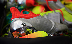 DINARD, FRANCE - Monday, June 6, 2016: Football boots belonging to Gareth Bale are pictured in a kit bag as the media are given a tour of Wales' training base in Dinard during the UEFA Euro 2016 Championship. (Pic by Paul Greenwood/Propaganda)