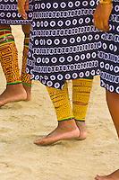 Women's native costumes with Mola embrodery blouses, skirts, bracelets and anklets, Kuna Indian cultural performance, Wichub Wala Island, San Blas Islands (Kuna Yala), Caribbean Sea, Panama