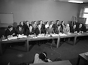 Fianna Fáil Front Bench at Press Conference January 1982..1982-01-14.14th January 1982..14/01/1982.01.14.82...Charles Haughey presents his front bench to the waiting media..Pictured at Leinster House..Front row From Left: ..Ray McSharry TD: Spokesman on Fisheries..Des O'Malley TD:.Spokeman on Industry and Commerce..Brian Lenihan TD:..George Colley TD: Deputy Leader and Spokesman on Energy..Charles Haughey TD: Leader of the Opposition..Ray Burke TD: Leader of the House..Sean Moore TD: Spokesman on Social Welfare..Gene Fitzgerald TD: Spokesman on Labour and Public Service..Martin O'Donoghue TD: Spokesman on Finance..Included in back row from left:...Second - Sean Doherty..Third - Albert Reynolds..Fifth - Maire Geoghegan Quinn.