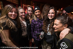 Dana Cooley, Kristen Lassen and other Iron Lilies at the Mama Tried Show after-party spillover at the Palomino Bar. Milwaukee, WI. USA. Friday February 23, 2018. Photography ©2018 Michael Lichter.