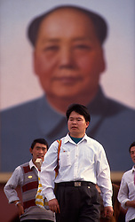 A giant portrait of Mao Zedong, hangs in Tiananmen Square, in Beijing, China.