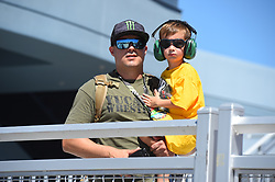 September 14, 2018 - Las Vegas, NV, U.S. - LAS VEGAS, NV - SEPTEMBER 14: A young fan and his dad in the Neon Garage during practice for the South Point 400 Monster Energy NASCAR Cup Series Playoff Race on September 14, 2018 at Las Vegas Motor Speedway in Las Vegas, NV. (Photo by Chris Williams/Icon Sportswire) (Credit Image: © Chris Williams/Icon SMI via ZUMA Press)