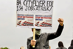 Pictured:<br /> Campaigners campaign at Edinburgh airport against job cuts by British Airways. pic: Terry Murden @edinburghelitemedia