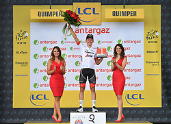 July 11, 2018 - Quimper, FRANCE - Latvian Toms Skujins of Trek-Segafredo receives the combativity award for the most aggressive rider during the fifth stage of the 105th edition of the Tour de France cycling race, from Lorient to Quimper (204,5 km), in France, Wednesday 11 July 2018. This year's Tour de France takes place from July 7th to July 29th. BELGA PHOTO DAVID STOCKMAN - FRANCE OUT (Credit Image: © David Stockman/Belga via ZUMA Press)