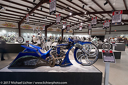 Dustin Maybin's custom all metal bagger in the Old Iron - Young Blood exhibition in the Motorcycles as Art gallery at the Buffalo Chip during the annual Sturgis Black Hills Motorcycle Rally.  SD, USA. Friday August 11, 2017.  Photography ©2017 Michael Lichter.