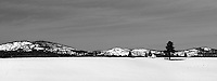 24 February 2008: Black and White landscape of Truckee Valley after a late winter storm in Lake Tahoe, Truckee Nevada California border in the Sierra Mountains.