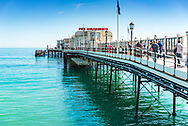 seaside landscape with blue sky on a summers days with Worthing Pier