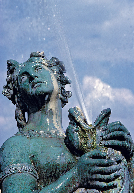 One of the two fountains at Place de la Concorde, in Paris, France, shows exquisite detail.