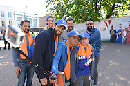 a Group of Chelsea fans pull faces as they take a selfie with a selfie stick outside Stamford Bridge before k/o. Barclays Premier league match, Chelsea v Manchester Utd at Stamford Bridge Stadium in London on Saturday 18th April 2015.<br /> pic by John Patrick Fletcher, Andrew Orchard sports photography.