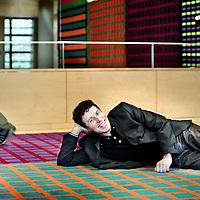 Nederland,Hilversum ,16 januari 2008..Frans Jennekens, maker van het bekroonde tv-fragment meiden van Halal en Hans Teeuwen...Frans Jennekens, eindredacteur en projectleider multiculturele programma´s NPS