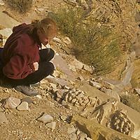 A hiker examines a Nabataean temple frieze atop Umm al Biyara peak above Petra, Jordan.  (MR)