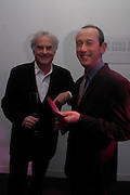 Sir Richard Eyre and Nicholas Hytner. Moet champagne reception, FAST FORWARD - a fundraising event for the National Theatre,  The former Saatchi Gallery, London NW8. 24 February 2005. ONE TIME USE ONLY - DO NOT ARCHIVE  © Copyright Photograph by Dafydd Jones 66 Stockwell Park Rd. London SW9 0DA Tel 020 7733 0108 www.dafjones.com