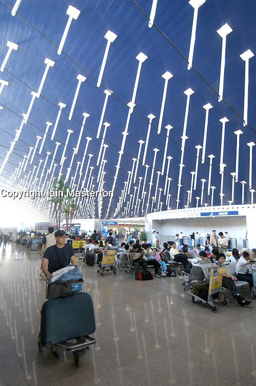 Interior of terminal building at Pudong International Airport in Shanghai China