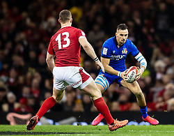 Mattia Bellini of Italy lines up George North of Wales<br /> <br /> Photographer Simon King/Replay Images<br /> <br /> Six Nations Round 1 - Wales v Italy - Saturday 1st February 2020 - Principality Stadium - Cardiff<br /> <br /> World Copyright © Replay Images . All rights reserved. info@replayimages.co.uk - http://replayimages.co.uk