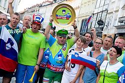 Supporters during reception of Slovenian U20 handball players after winning gold at 2018 EHF U20 Men's European Championship, on July 30, 2018 in Ljubljana, Slovenia. Photo by Urban Urbanc / Sportida