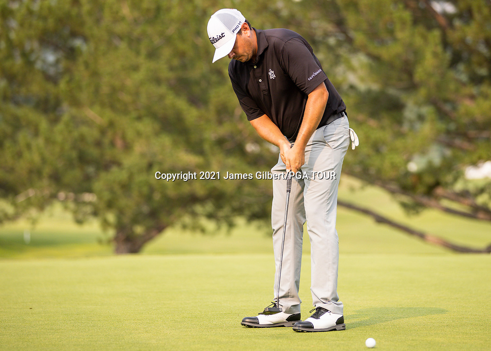 FARMINGTON, UT - AUGUST 08: Joshua Creel putts on the 18th green during the final round of the Utah Championship presented by Zions Bank at Oakridge Country Club on August 8, 2021 in Farmington, Utah. (Photo by James Gilbert/PGA TOUR via Getty Images)