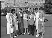 Rose of Tralee Contestants at Leinster House..1983.26.08.1983.08.26.1983.26th August 1983..Photograph of Mr Dick Spring,Tanaiste and Minister for Enviroment,.welcoming the Roses to Leinster House Dublin for a Champagne reception. Included in the image is Mr Denis Mannaix,President of the Festival Committee and the following Roses..Cork, Miss Irene de Leeue..Limerick, Miss Noelle Westropp-Bennett..Kerry,Miss Peggy King..Tralee,Miss Martina Keane..Waterford Miss Brenda Hyland who was the eventual winner of the Title of Rose of Tralee.