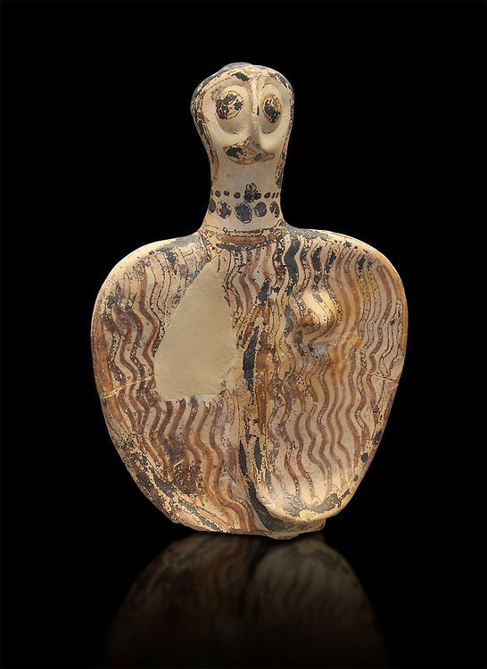 Upper part of a Mycenaean female figurine with stylised arms wearing a necklace, from Mycenae tomb 101, Archaeological Museum Athens. Cat No 4690.  Black Background<br /> <br /> Stylised female figurines were common in the Mycenaean world and may have represented deities , divine nurses or worshipers. these Mycenaean female figurines were probably used as voitive offering and maybe as childrens toys. .<br /> <br /> If you prefer to buy from our ALAMY PHOTO LIBRARY  Collection visit : https://www.alamy.com/portfolio/paul-williams-funkystock/mycenaean-art-artefacts.html . Type -   Athens    - into the LOWER SEARCH WITHIN GALLERY box. Refine search by adding background colour, place, museum etc<br /> <br /> Visit our MYCENAEN ART PHOTO COLLECTIONS for more photos to download  as wall art prints https://funkystock.photoshelter.com/gallery-collection/Pictures-Images-of-Ancient-Mycenaean-Art-Artefacts-Archaeology-Sites/C0000xRC5WLQcbhQ