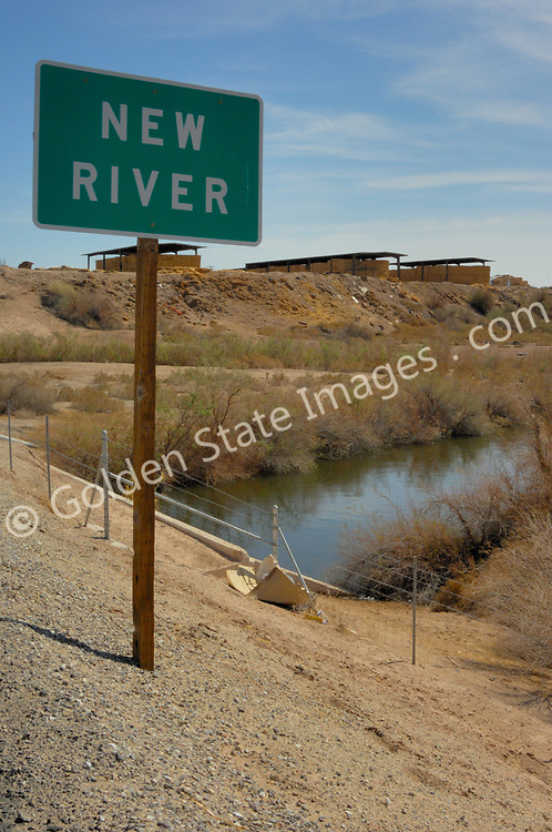 Sign marking the New River as it passes under interstate 8.<br /> <br /> The New River is one of the most severely polluted rivers of its size in the United States. It runs only 15 miles from the town of Mexicali in Mexico north to the Salton Sea in Southern California. <br /> <br /> It is contaminated with raw sewage   industrial waste,  including heavy metals such as selenium arsenic and mercury and farming generated pollutants such as pesticides and fertilizers.<br /> <br /> In addition to the sewage and industrial waste pollution, the New River flows directly through several city dumps as it passes through Mexicali.<br /> <br /> Along with the pollution, litter such as discarded plastic bottles and styrofoam cups and containers collect along the banks of the New River.