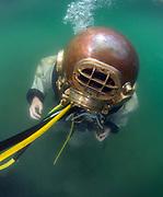 Diver in US Navy Mark-V at Dutch Springs, Scuba Diving Resort in Bethlehem, Pennsylvania