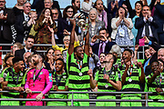 Forest Green Rovers lift the ply off final trophy and celebrate promotion in to the football league Forest Green Rovers Shamir Mullings(18) during the Vanarama National League Play Off Final match between Tranmere Rovers and Forest Green Rovers at Wembley Stadium, London, England on 14 May 2017. Photo by Adam Rivers.
