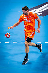 The Dutch handball player Jorn Smits in action against  Slovenia during the European Championship qualifying match on January 6, 2020 in Topsportcentrum Almere