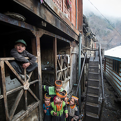 Bumburet, Chitral District,Pakistan.Pic Shows A Kalash kids in the Kalash village in the valley of Bumburet