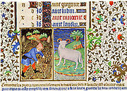 March. Astrological sign of Aries. Pruning. From the 'Bedford Hours', French 15th century illuminated manuscript.  British Library, London.