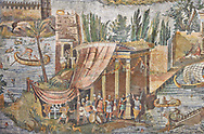 Detail picture of a temple surrounded by the flooded Nile  from the famous Roman Hellenistic Nilotic landscape Roman Palestrina Mosaic or Nile mosaic of Palestrina 1st or 2nd century BC. Museo Archeologico Nazionale di Palestrina Prenestino  (Palestrina Archaeological Museum), Palestrina, Italy. .<br /> <br /> If you prefer to buy from our ALAMY PHOTO LIBRARY  Collection visit : https://www.alamy.com/portfolio/paul-williams-funkystock/roman-mosaic.html - Type -   Palestrina   - into the LOWER SEARCH WITHIN GALLERY box. Refine search by adding background colour, place, museum etc<br /> <br /> Visit our ROMAN MOSAIC PHOTO COLLECTIONS for more photos to download  as wall art prints https://funkystock.photoshelter.com/gallery-collection/Roman-Mosaics-Art-Pictures-Images/C0000LcfNel7FpLI