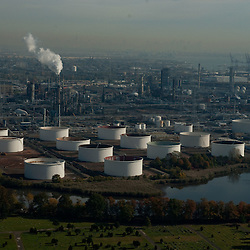 Aerial view of oil refinery in Linden New jersey