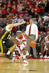 "18 January 2007: Keith ""Boo"" Richardson puts on the breaks against Matt Braeuer. The Shockers of Wichita State were shut off by the Redbirds by a score of 83-75 at Redbird Arena in Normal Illinois on the campus of Illinois State University."