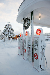 """""""Snowy Flying A in Truckee 1"""" - These snow covered Flying A gasoline pumps were photographed in the early morning in Downtown Truckee, CA."""
