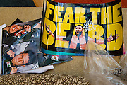 """An autographed Johny Hendricks """"Fear the Beard"""" poster sits on a couch in the lobby of the Hilton Anatole in Dallas, Texas on March 15, 2014."""