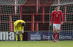 WREXHAM, WALES - Thursday, November 10, 2016: Wales' Feral Hale-Brown dejected after Theodoros Mingos scores for Greece during the UEFA European Under-19 Championship Qualifying Round Group 6 match at the Racecourse Ground. (Pic by Gavin Trafford/Propaganda)