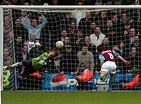 Picture: Henry Browne.<br /> Date: 14/02/2004.<br /> Fulham v West Ham FA Cup Fifth Round.<br /> <br /> Edwin Van Der Sar makes a great save to stop West Ham's David Connolly from heading into an empty net.