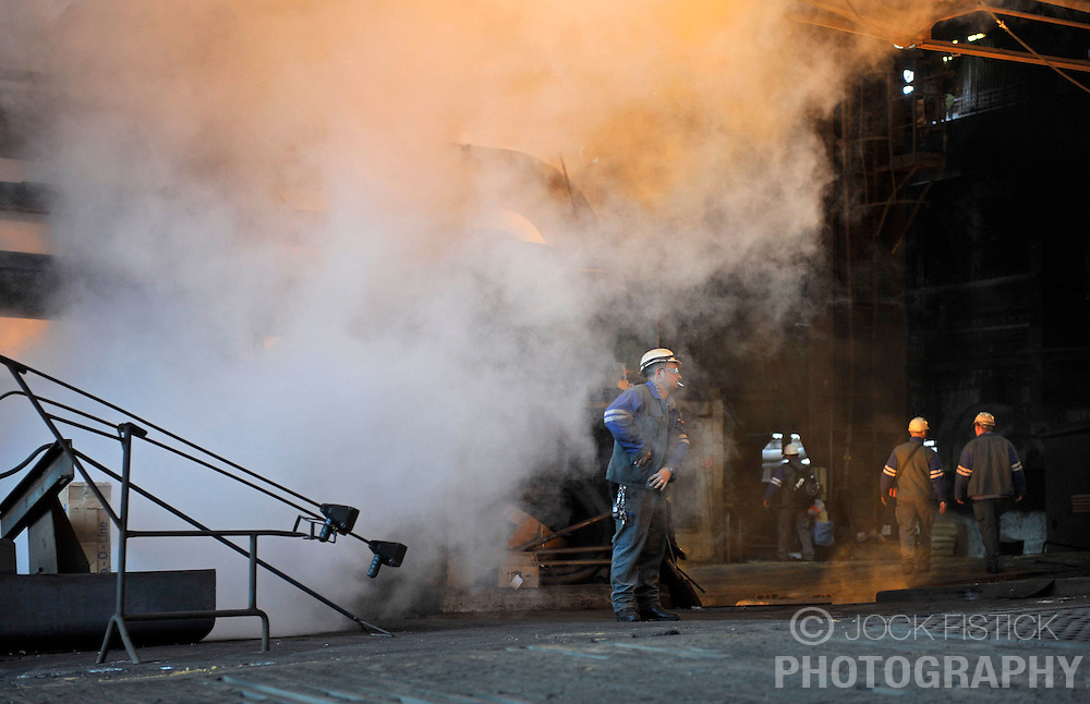 An Arcelor-Mittal employee at work at the Ougree facility near Liege, Belgium, Monday, Feb. 9, 2009. (Photo © Jock Fistick)