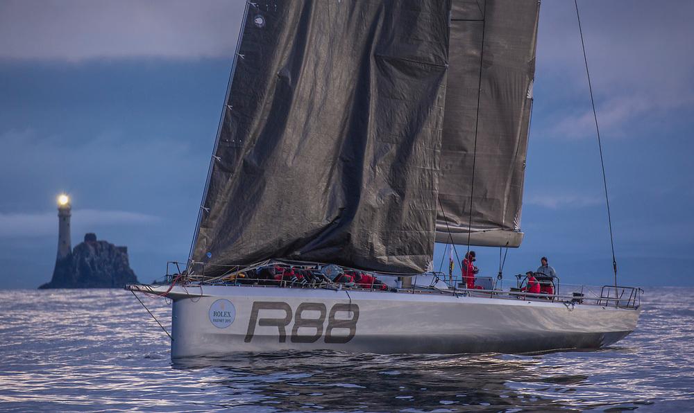 RAMBLER 88, USA 25555, Owner / Skipper: George David, Design: Canting Keel Sloop, Class: IRC CK<br /> <br /> OFF FASTNET ROCK
