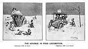 The Advance in Road Locomotion. Christmas, 1702 (in snow). Christmas, 1902 (if in snow).
