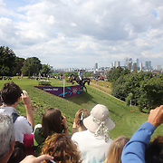 Jonathan Paget, New Zealand, riding Clifton Promise navigates a difficult jump during the Cross Country event in the Eventing competition in front of massive crowds at Greenwich Park  during the London 2012 Olympic games. London. UK. 29th July 2012. Photo Tim Clayton